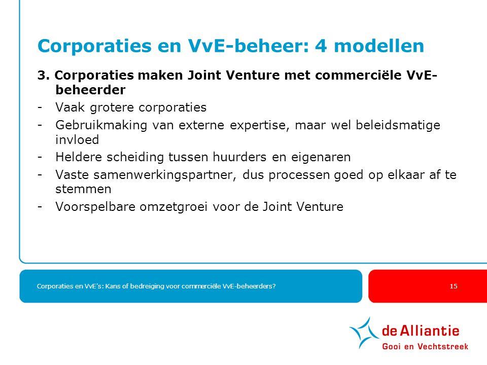 Corporaties en VvE's: Kans of bedreiging voor commerciële VvE-beheerders? 15 Corporaties en VvE-beheer: 4 modellen 3. Corporaties maken Joint Venture