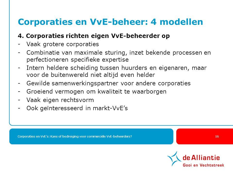 Corporaties en VvE's: Kans of bedreiging voor commerciële VvE-beheerders? 16 Corporaties en VvE-beheer: 4 modellen 4. Corporaties richten eigen VvE-be