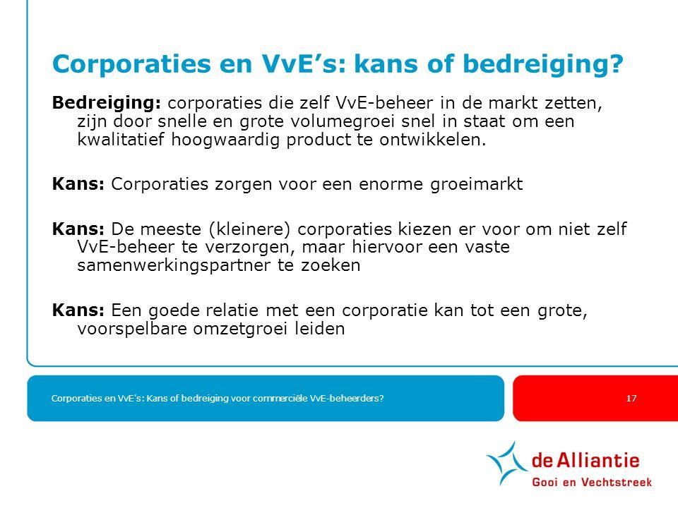 Corporaties en VvE's: Kans of bedreiging voor commerciële VvE-beheerders? 17 Corporaties en VvE's: kans of bedreiging? Bedreiging: corporaties die zel