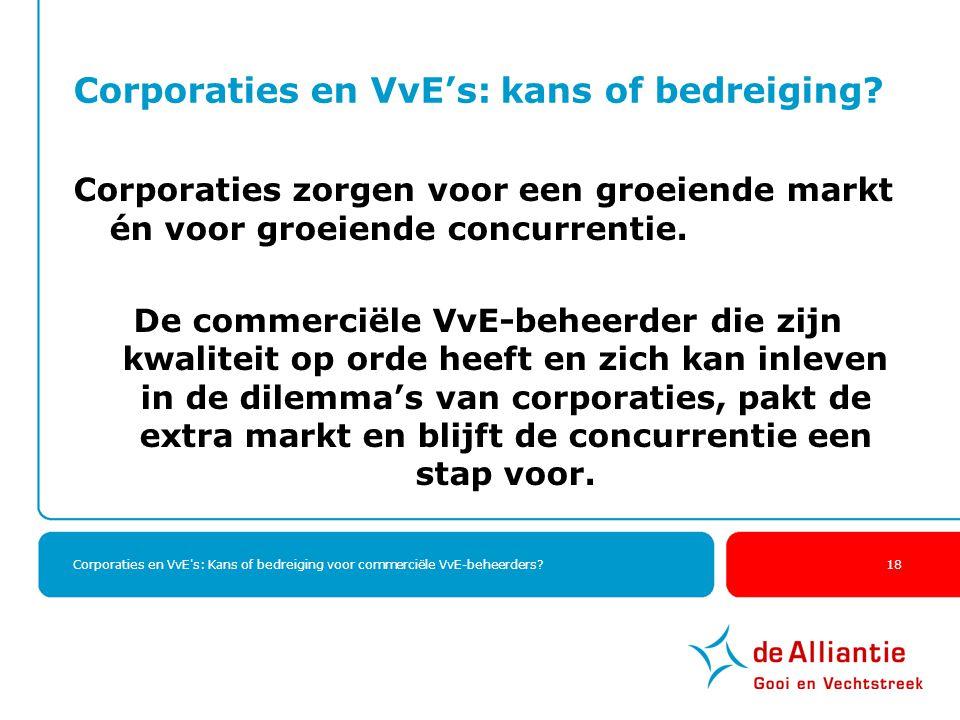Corporaties en VvE's: Kans of bedreiging voor commerciële VvE-beheerders? 18 Corporaties en VvE's: kans of bedreiging? Corporaties zorgen voor een gro