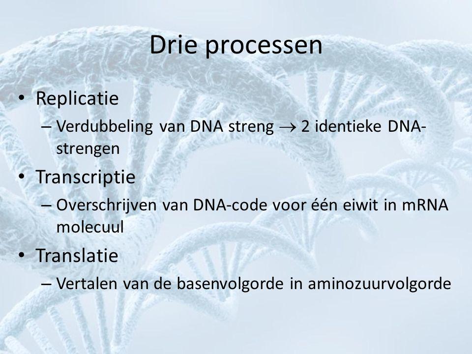 Drie processen • Replicatie – Verdubbeling van DNA streng  2 identieke DNA- strengen • Transcriptie – Overschrijven van DNA-code voor één eiwit in mR