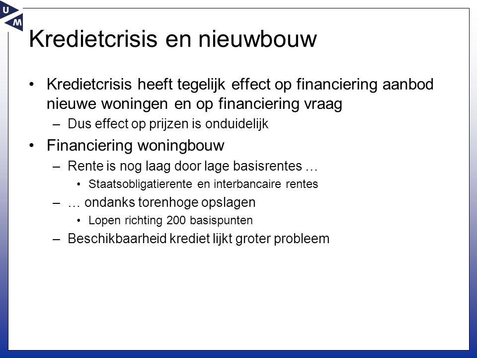 Kredietcrisis en nieuwbouw •Kredietcrisis heeft tegelijk effect op financiering aanbod nieuwe woningen en op financiering vraag –Dus effect op prijzen
