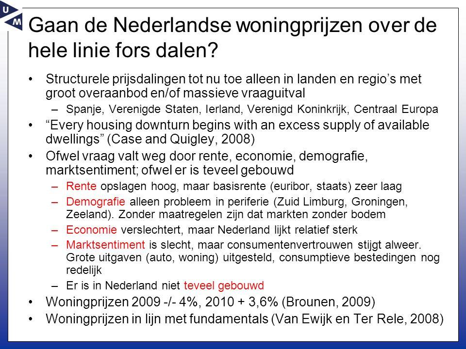 Gaan de Nederlandse woningprijzen over de hele linie fors dalen? •Structurele prijsdalingen tot nu toe alleen in landen en regio's met groot overaanbo