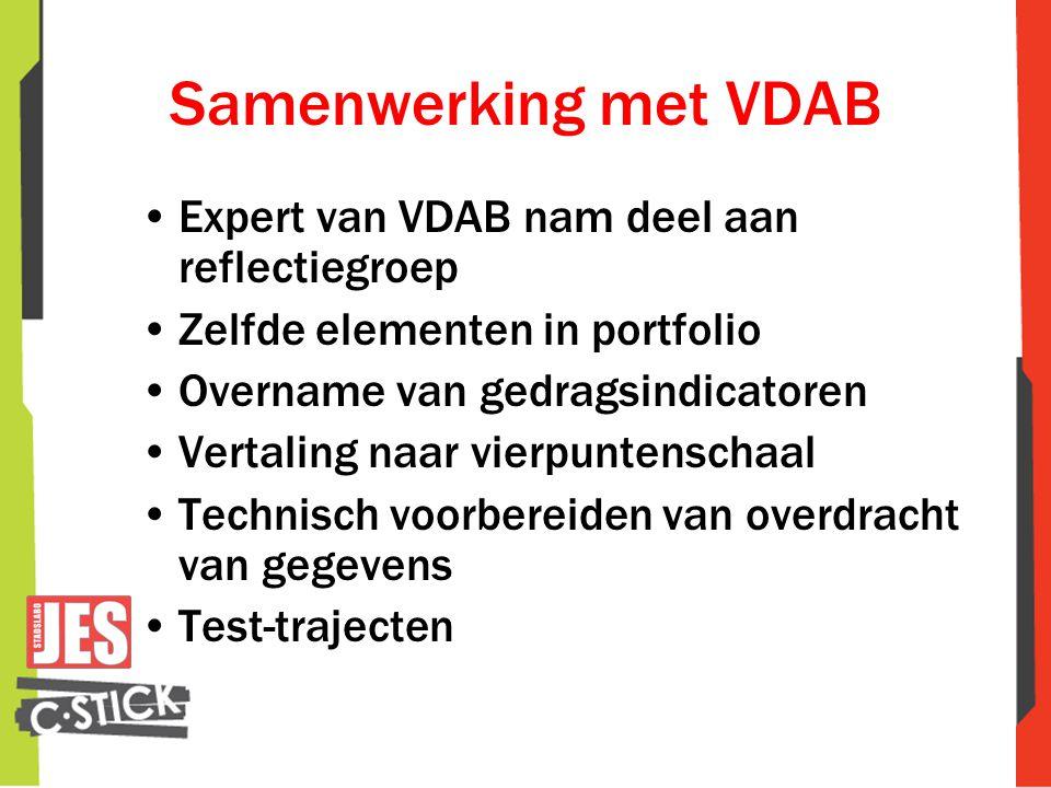 Samenwerking met VDAB •Expert van VDAB nam deel aan reflectiegroep •Zelfde elementen in portfolio •Overname van gedragsindicatoren •Vertaling naar vierpuntenschaal •Technisch voorbereiden van overdracht van gegevens •Test-trajecten