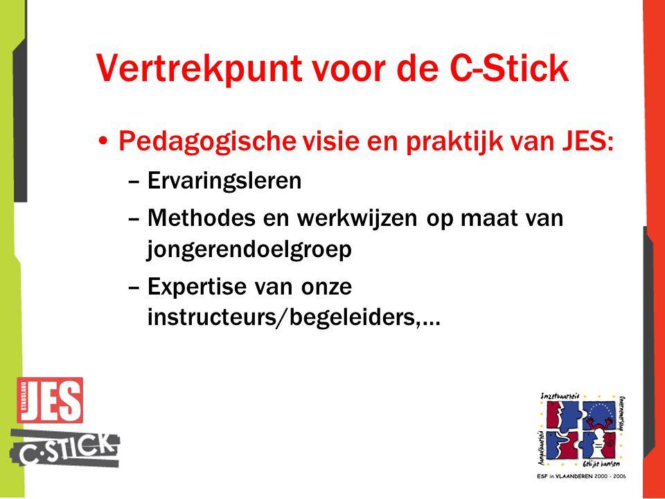 Vertrekpunt voor de C-Stick •Pedagogische visie en praktijk van JES: –Ervaringsleren –Methodes en werkwijzen op maat van jongerendoelgroep –Expertise van onze instructeurs/begeleiders,…