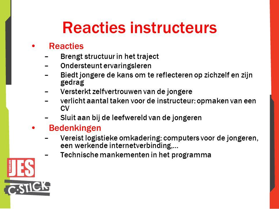 Reacties instructeurs •Reacties –Brengt structuur in het traject –Ondersteunt ervaringsleren –Biedt jongere de kans om te reflecteren op zichzelf en z