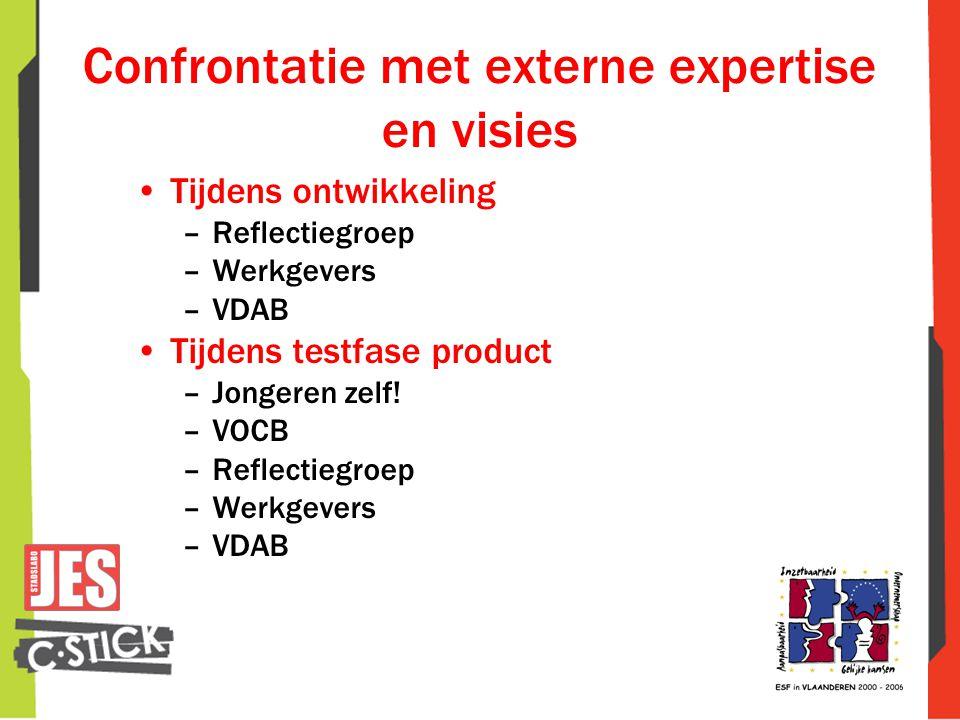 Confrontatie met externe expertise en visies •Tijdens ontwikkeling –Reflectiegroep –Werkgevers –VDAB •Tijdens testfase product –Jongeren zelf! –VOCB –