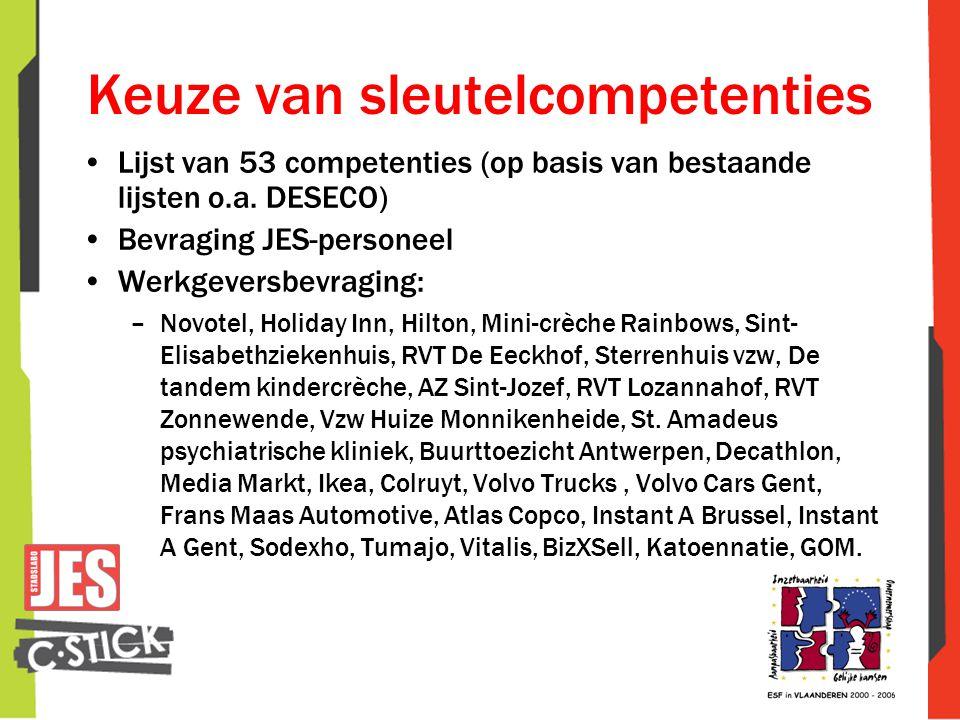 Keuze van sleutelcompetenties •Lijst van 53 competenties (op basis van bestaande lijsten o.a. DESECO) •Bevraging JES-personeel •Werkgeversbevraging: –