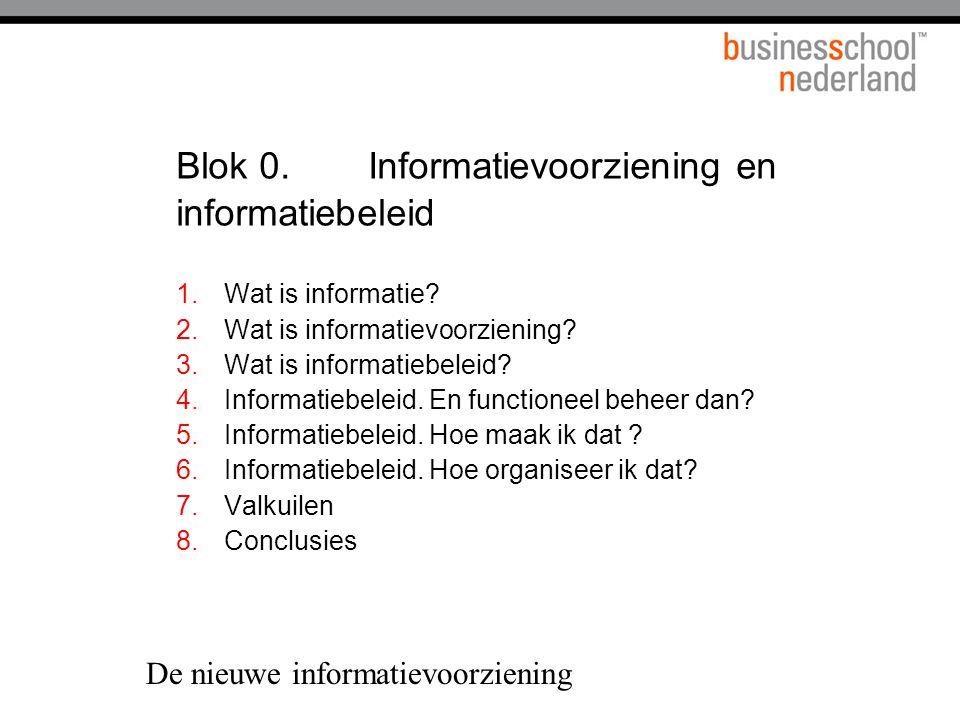 De nieuwe informatievoorziening Blok 0.Informatievoorziening en informatiebeleid 1.Wat is informatie.