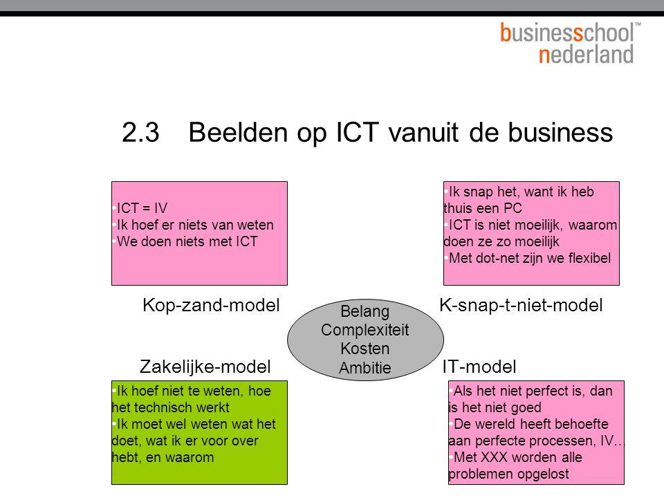 2.3Beelden op ICT vanuit de business • Ik snap het, want ik heb thuis een PC • ICT is niet moeilijk, waarom doen ze zo moeilijk • Met dot-net zijn we flexibel • Ik hoef niet te weten, hoe het technisch werkt • Ik moet wel weten wat het doet, wat ik er voor over hebt, en waarom • Als het niet perfect is, dan is het niet goed • De wereld heeft behoefte aan perfecte processen, IV… • Met XXX worden alle problemen opgelost • ICT = IV • Ik hoef er niets van weten • We doen niets met ICT Belang Complexiteit Kosten Ambitie K-snap-t-niet-modelKop-zand-model Zakelijke-modelIT-model