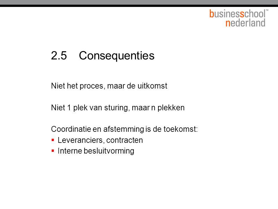2.5Consequenties Niet het proces, maar de uitkomst Niet 1 plek van sturing, maar n plekken Coordinatie en afstemming is de toekomst:  Leveranciers, contracten  Interne besluitvorming