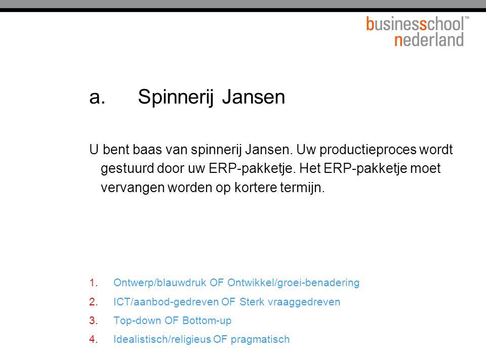 a.Spinnerij Jansen U bent baas van spinnerij Jansen.
