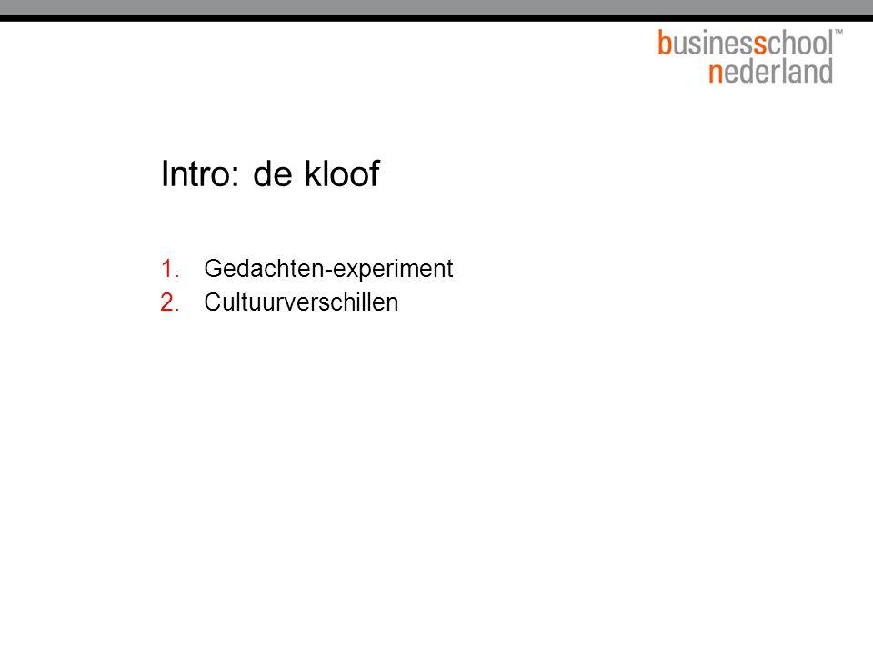 Intro: de kloof 1.Gedachten-experiment 2.Cultuurverschillen