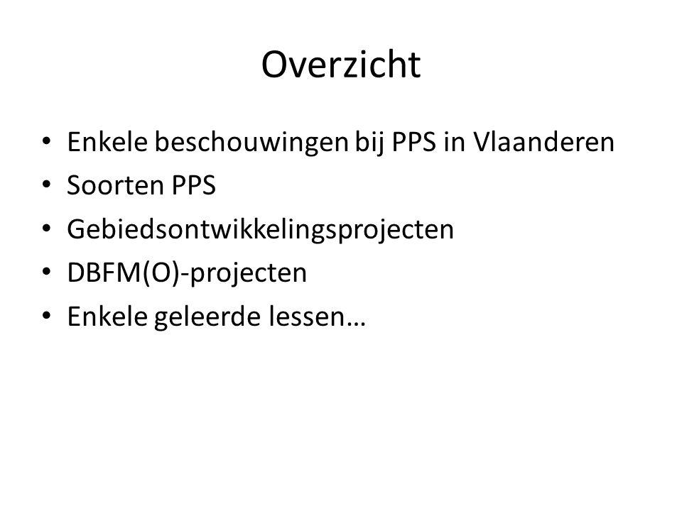 Enkele beschouwingen bij PPS in Vlaanderen • PPS in Vlaanderen • PPS-decreet 18 juli 2003 • Rol Kenniscentrum www.vlaanderen.be/ppswww.vlaanderen.be/pps • Uitdagingen blijven: Eurostat (ESR95), overheidsopdrachtenwetgeving, staatssteun, transactiekosten, innovatie, financiële crisis, Basel normen, enz.