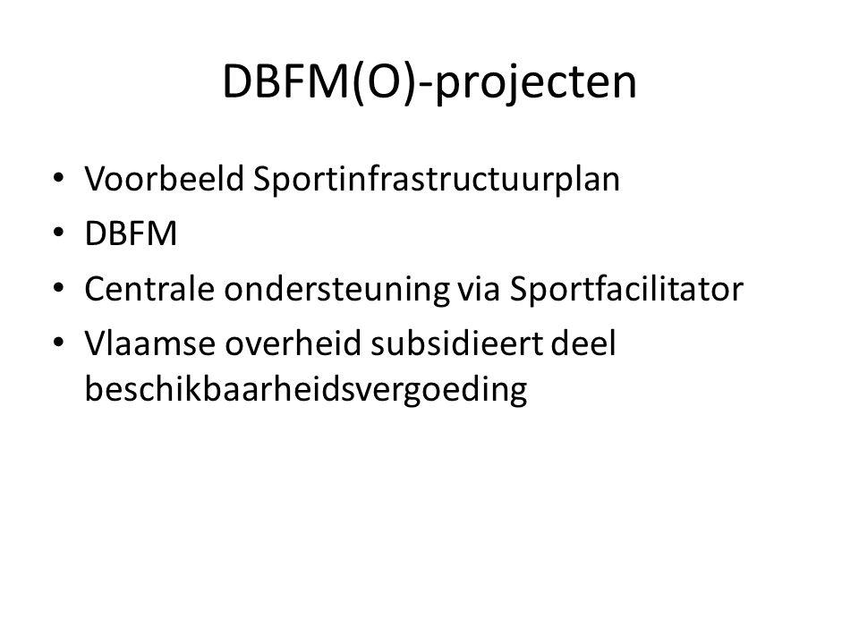 DBFM(O)-projecten • = PPS-constructie (Publiek-Private Samenwerking), waarbij verschillende projecten per deeldomein (eenvoudige sporthallen, eenvoudige zwembaden, kunstgrasvelden) worden geclusterd en in de markt geplaatst.