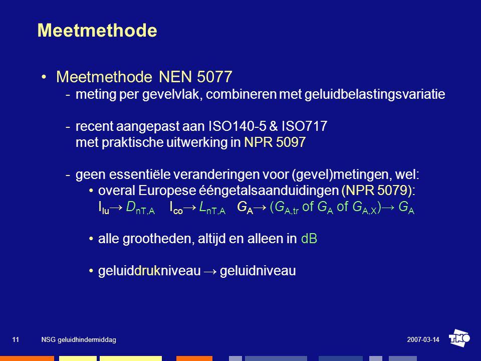 2007-03-14NSG geluidhindermiddag11 Meetmethode •Meetmethode NEN 5077 meting per gevelvlak, combineren met geluidbelastingsvariatie recent aangepast