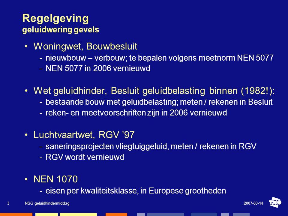 2007-03-14NSG geluidhindermiddag3 •Woningwet, Bouwbesluit nieuwbouw – verbouw; te bepalen volgens meetnorm NEN 5077 NEN 5077 in 2006 vernieuwd •Wet