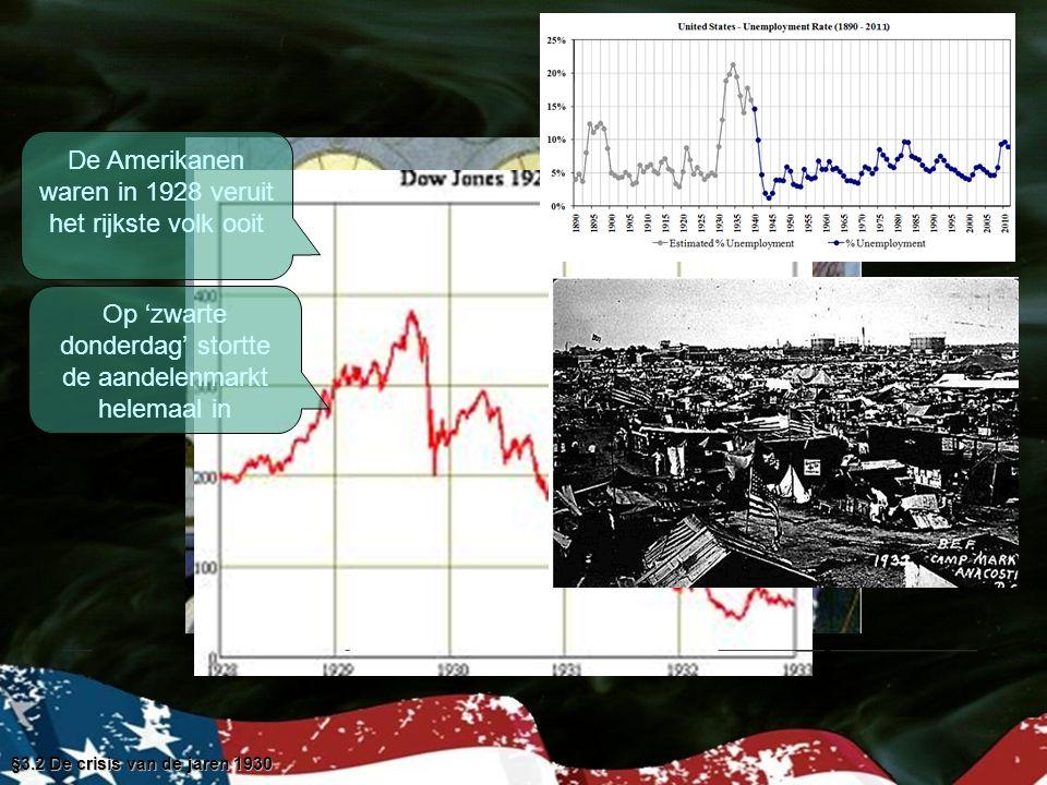 De Amerikanen waren in 1928 veruit het rijkste volk ooit Op 'zwarte donderdag' stortte de aandelenmarkt helemaal in §3.2 De crisis van de jaren 1930