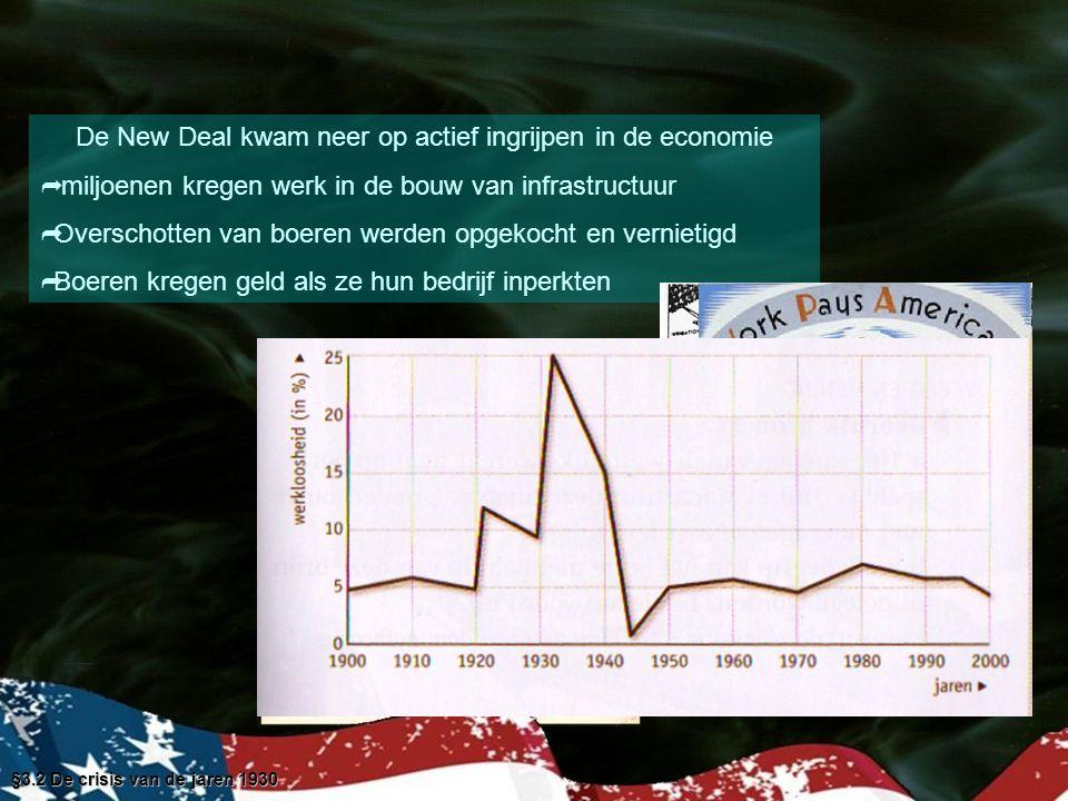 §3.2 De crisis van de jaren 1930 Aanvankelijk werd de New Deal met enthousiasme begroet maar al snel kwam er verzet van het zakenleven Ook het Hoogerechtshof keerde zich tegen Roosevelt omdat de wetten van de New Deal de federale overheid teveel macht gaven De kiezer beloonde FDR in 1936 met een record overwinning toch werd zijn tweede termijn een teleurstelling De werkloosheid verdween pas toen de VS gingen meedoen aan WOII toen de productie van de VS haast verdubbelde