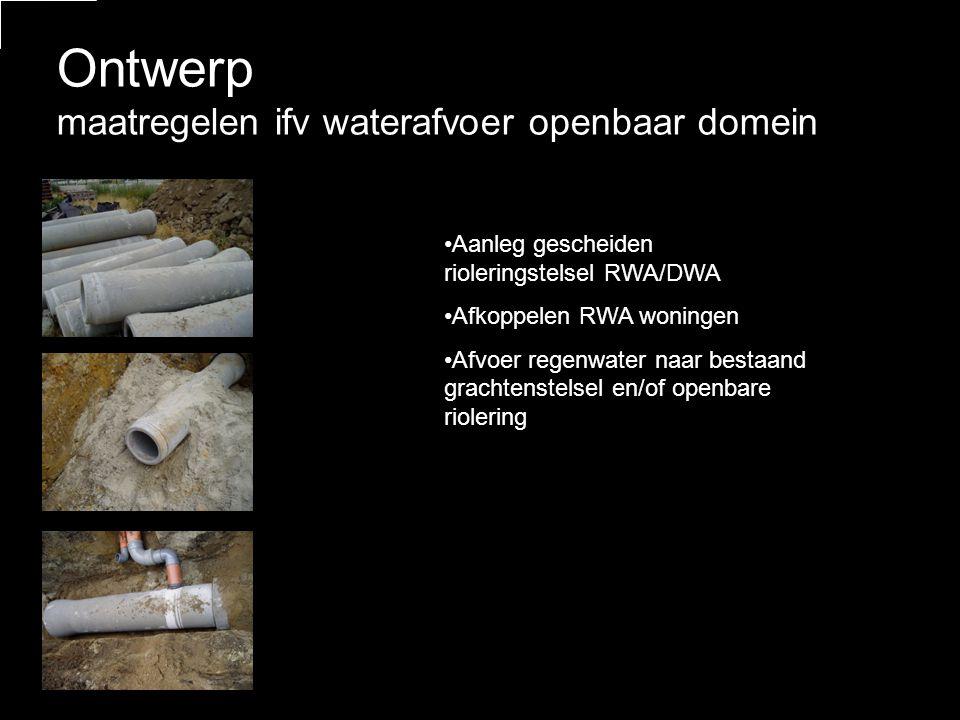 Ontwerp maatregelen ifv waterafvoer openbaar domein •Aanleg gescheiden rioleringstelsel RWA/DWA •Afkoppelen RWA woningen •Afvoer regenwater naar bestaand grachtenstelsel en/of openbare riolering