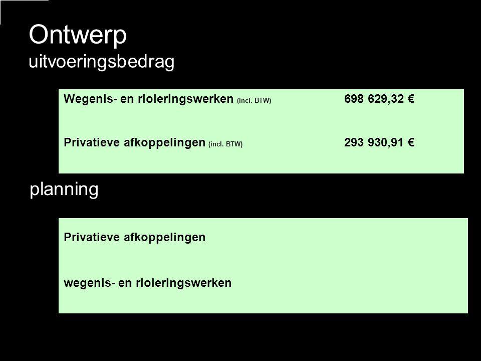 Ontwerp uitvoeringsbedrag Wegenis- en rioleringswerken (incl.