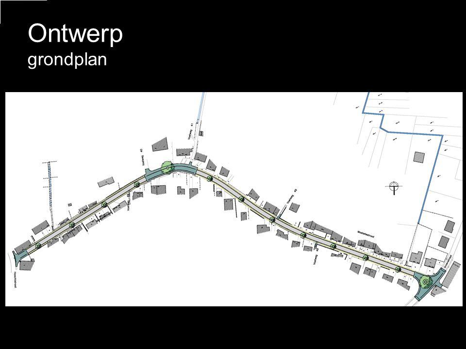 – •Twee-richtingsverkeer •Rijbaan – 5m breed Materialen •Voetpaden – betonstraatstenen - bruin •Rijweg – asfalt •Goot - imitatie blauwe hardsteen Ontwerp typedwarsprofiel rijbaan