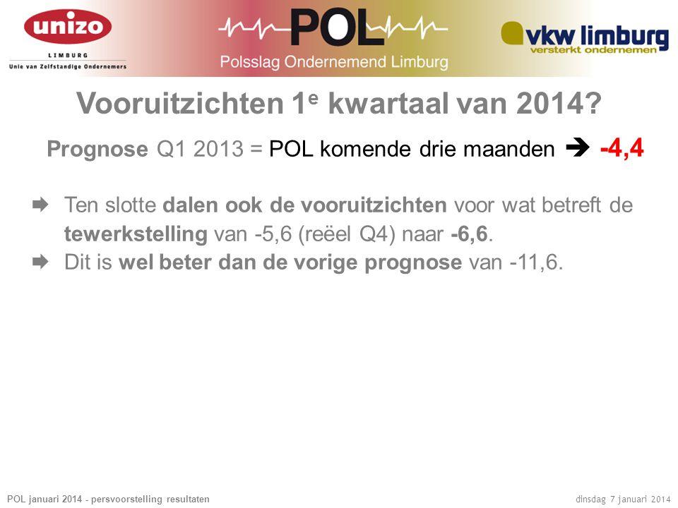 POL januari 2014 - persvoorstelling resultaten dinsdag 7 januari 2014 Vooruitzichten 1 e kwartaal van 2014.