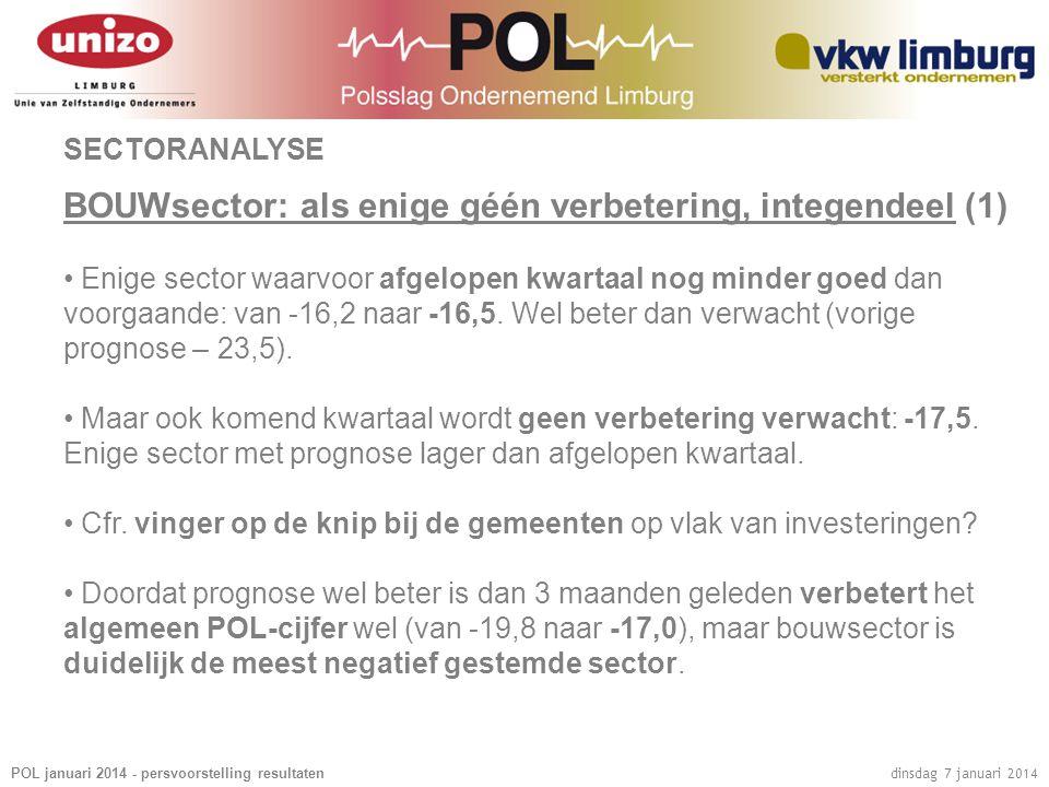 POL januari 2014 - persvoorstelling resultaten dinsdag 7 januari 2014 SECTORANALYSE BOUWsector: als enige géén verbetering, integendeel (1) • Enige se