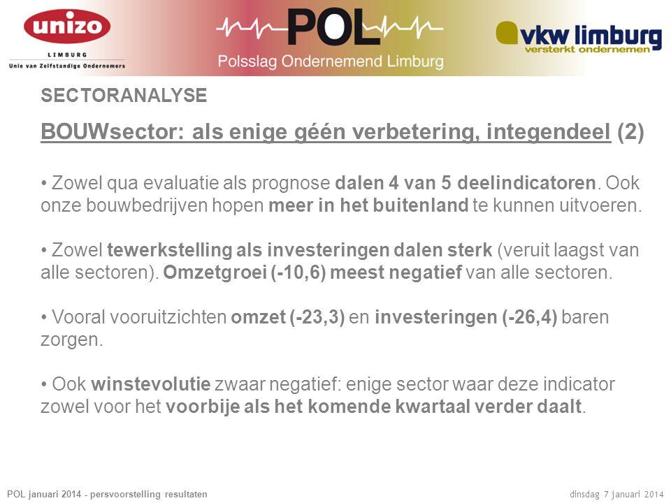 POL januari 2014 - persvoorstelling resultaten dinsdag 7 januari 2014 SECTORANALYSE BOUWsector: als enige géén verbetering, integendeel (2) • Zowel qu