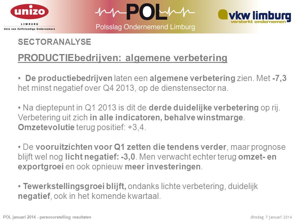 POL januari 2014 - persvoorstelling resultaten dinsdag 7 januari 2014 SECTORANALYSE PRODUCTIEbedrijven: algemene verbetering • De productiebedrijven laten een algemene verbetering zien.