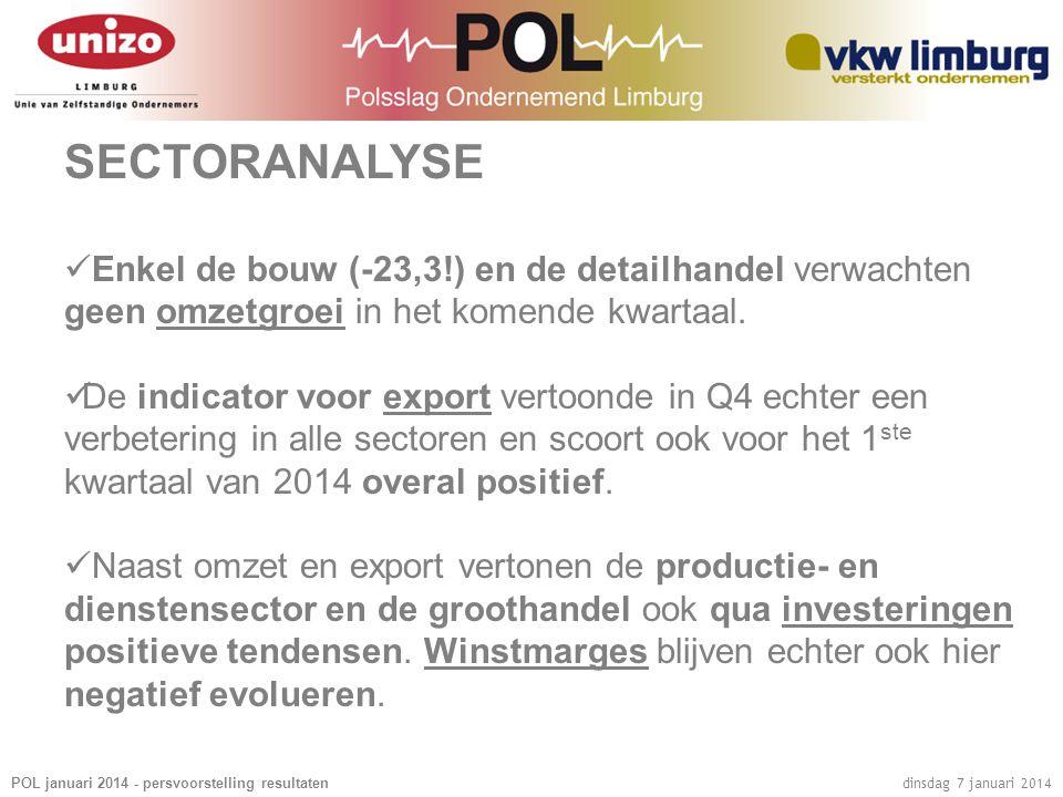 POL januari 2014 - persvoorstelling resultaten dinsdag 7 januari 2014 SECTORANALYSE  Enkel de bouw (-23,3!) en de detailhandel verwachten geen omzetg