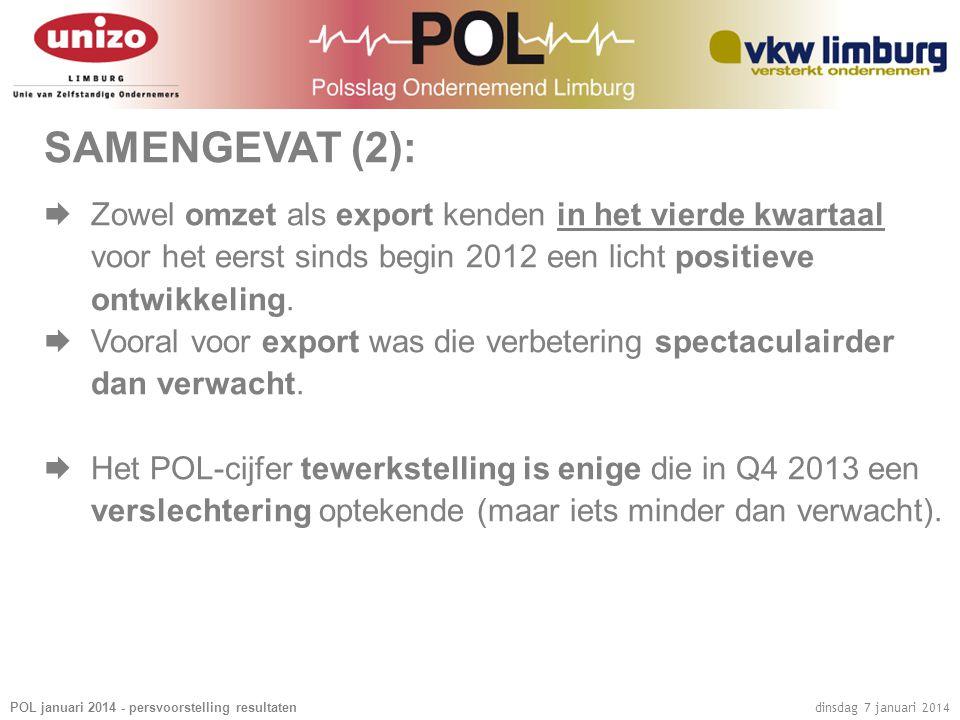 POL januari 2014 - persvoorstelling resultaten dinsdag 7 januari 2014 SAMENGEVAT (2):  Zowel omzet als export kenden in het vierde kwartaal voor het