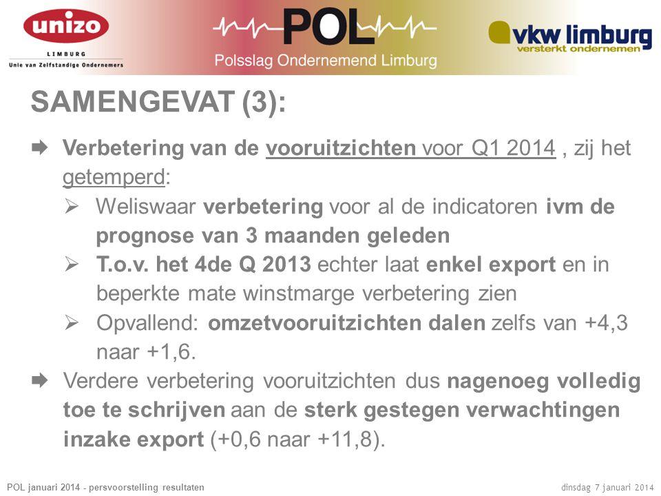 POL januari 2014 - persvoorstelling resultaten dinsdag 7 januari 2014 SAMENGEVAT (3):  Verbetering van de vooruitzichten voor Q1 2014, zij het getemp