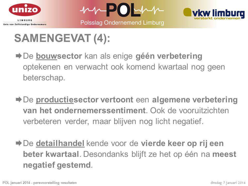 POL januari 2014 - persvoorstelling resultaten dinsdag 7 januari 2014 SAMENGEVAT (4):  De bouwsector kan als enige géén verbetering optekenen en verw