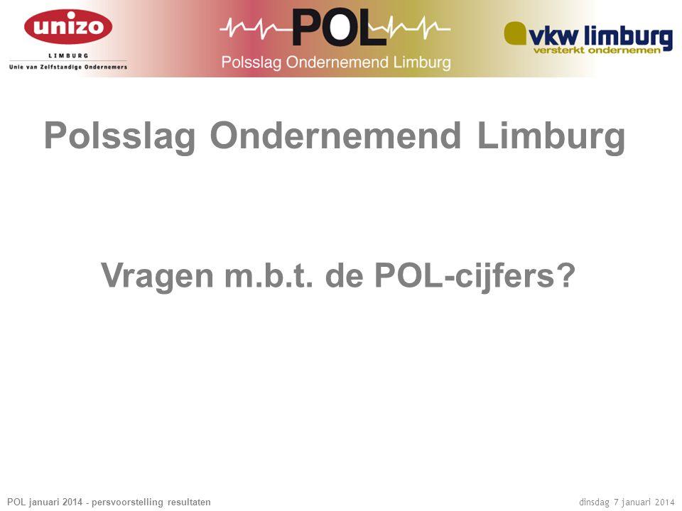 POL januari 2014 - persvoorstelling resultaten dinsdag 7 januari 2014 Polsslag Ondernemend Limburg Vragen m.b.t.