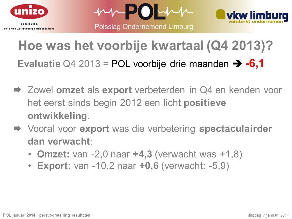 POL januari 2014 - persvoorstelling resultaten dinsdag 7 januari 2014 Hoe was het voorbije kwartaal (Q4 2013)? Evaluatie Q4 2013 = POL voorbije drie m