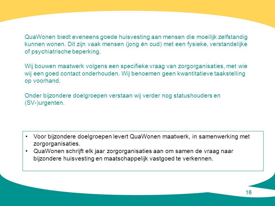 16 QuaWonen biedt eveneens goede huisvesting aan mensen die moeilijk zelfstandig kunnen wonen. Dit zijn vaak mensen (jong én oud) met een fysieke, ver