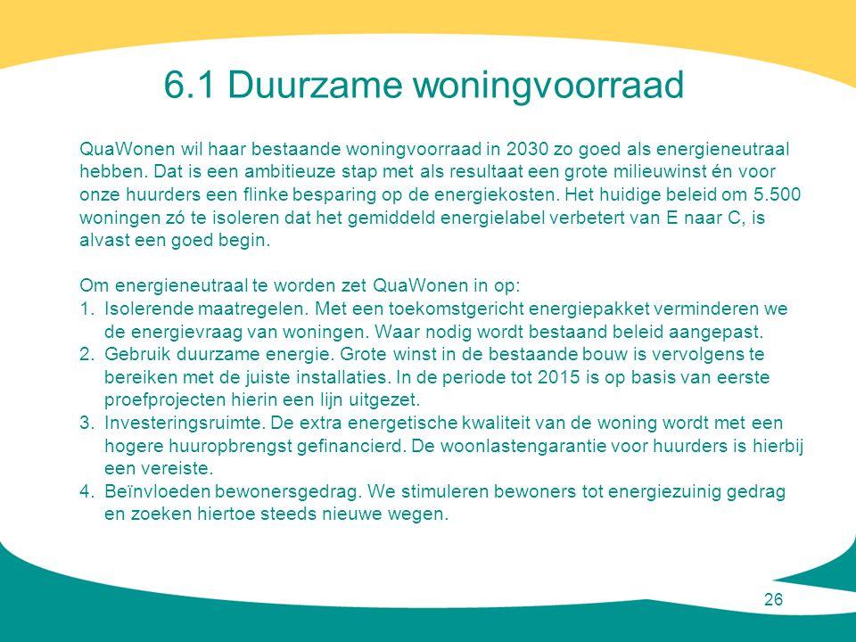 26 6.1 Duurzame woningvoorraad QuaWonen wil haar bestaande woningvoorraad in 2030 zo goed als energieneutraal hebben. Dat is een ambitieuze stap met a