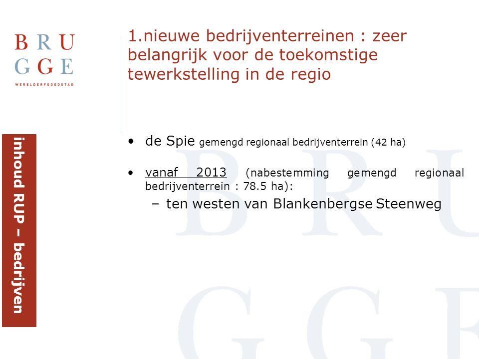 •de Spie gemengd regionaal bedrijventerrein (42 ha) •vanaf 2013 (nabestemming gemengd regionaal bedrijventerrein : 78.5 ha): –ten westen van Blankenbe