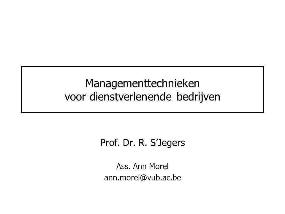 Managementtechnieken voor dienstverlenende bedrijven Prof. Dr. R. S'Jegers Ass. Ann Morel ann.morel@vub.ac.be