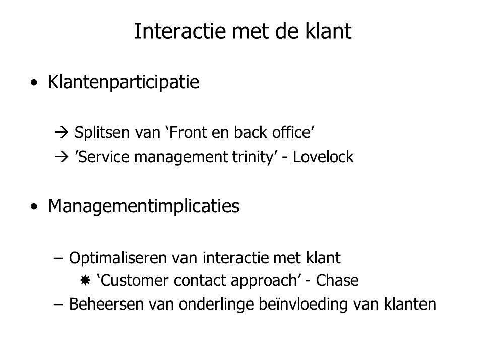 Interactie met de klant •Klantenparticipatie  Splitsen van 'Front en back office'  'Service management trinity' - Lovelock •Managementimplicaties –O