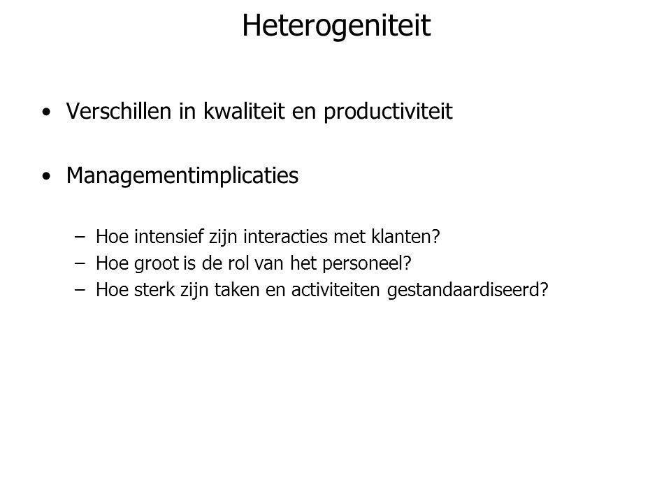 Heterogeniteit •Verschillen in kwaliteit en productiviteit •Managementimplicaties –Hoe intensief zijn interacties met klanten? –Hoe groot is de rol va