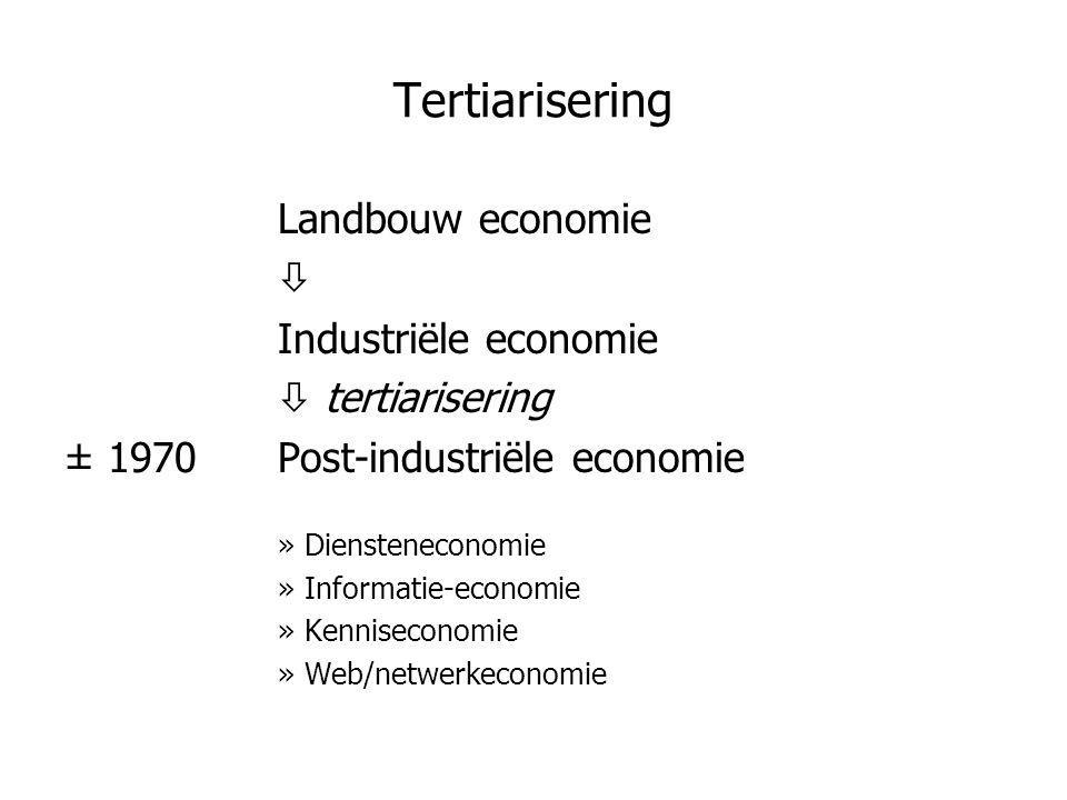 Tertiarisering Landbouw economie  Industriële economie  tertiarisering ± 1970Post-industriële economie »Diensteneconomie »Informatie-economie »Kenni