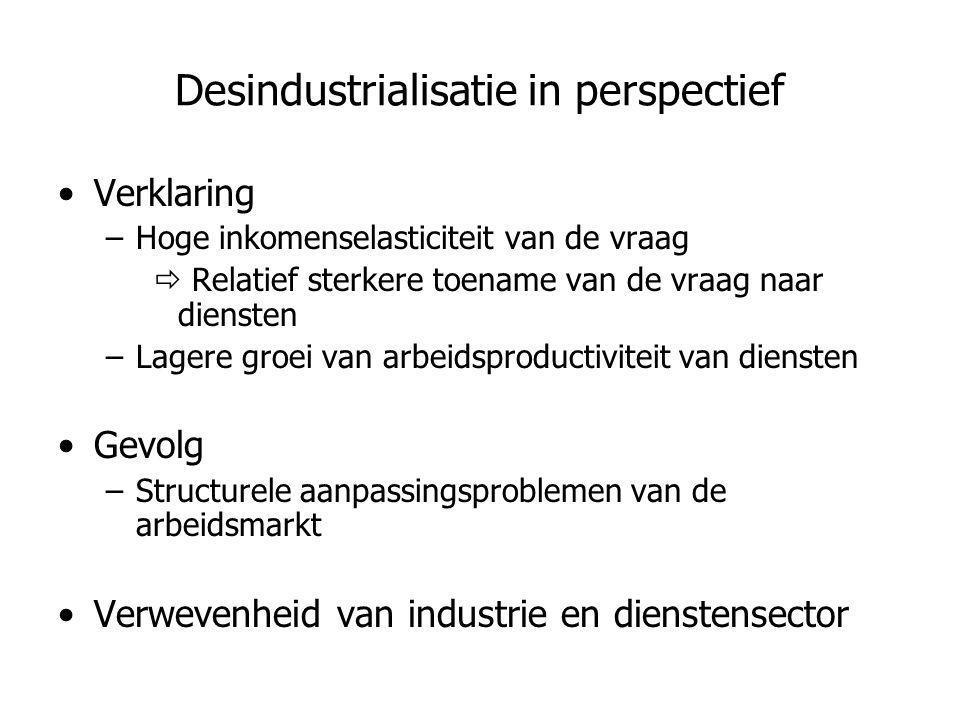 Desindustrialisatie in perspectief •Verklaring –Hoge inkomenselasticiteit van de vraag  Relatief sterkere toename van de vraag naar diensten –Lagere