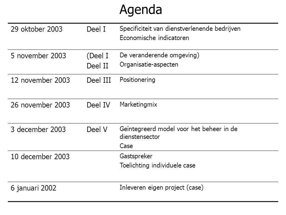Agenda 29 oktober 2003Deel I Specificiteit van dienstverlenende bedrijven Economische indicatoren 5 november 2003(Deel I Deel II De veranderende omgev