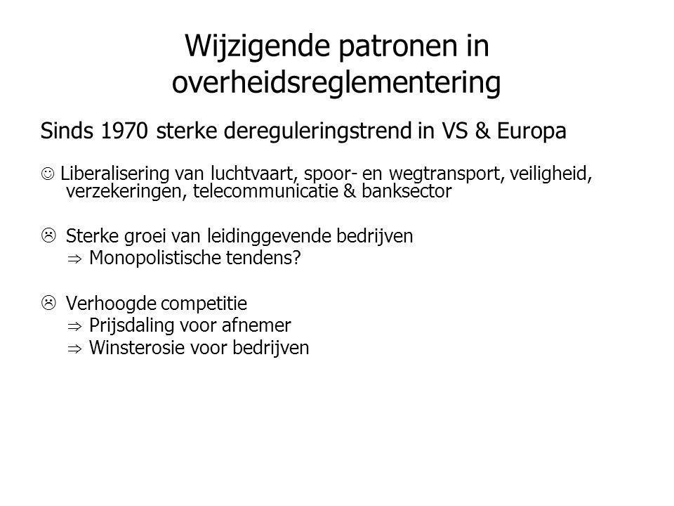 Wijzigende patronen in overheidsreglementering Sinds 1970 sterke dereguleringstrend in VS & Europa  Liberalisering van luchtvaart, spoor- en wegtrans