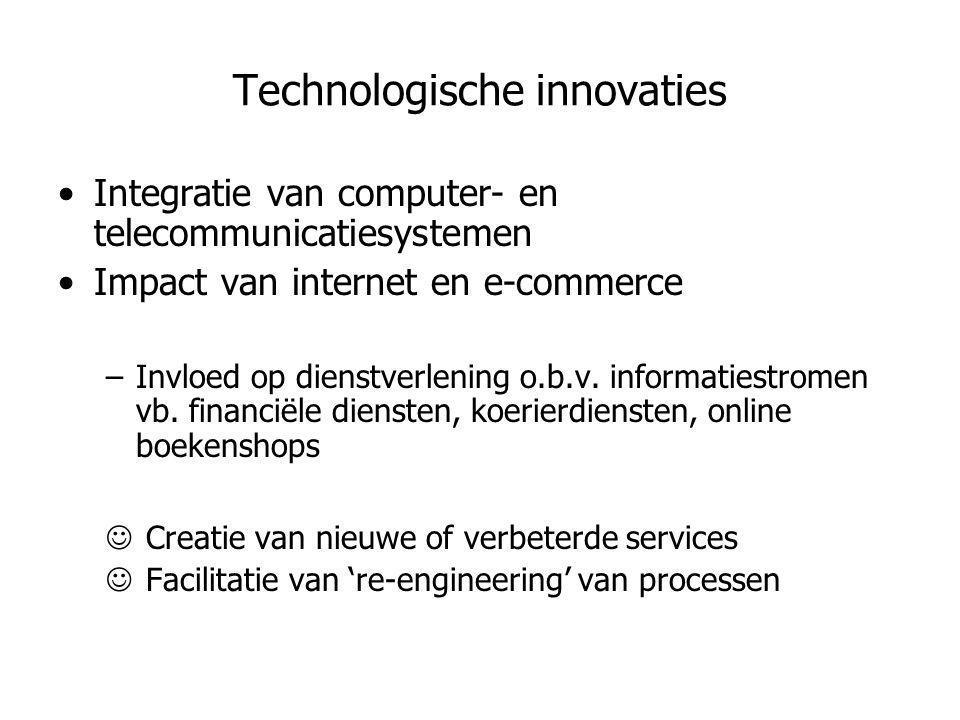 Technologische innovaties •Integratie van computer- en telecommunicatiesystemen •Impact van internet en e-commerce –Invloed op dienstverlening o.b.v.