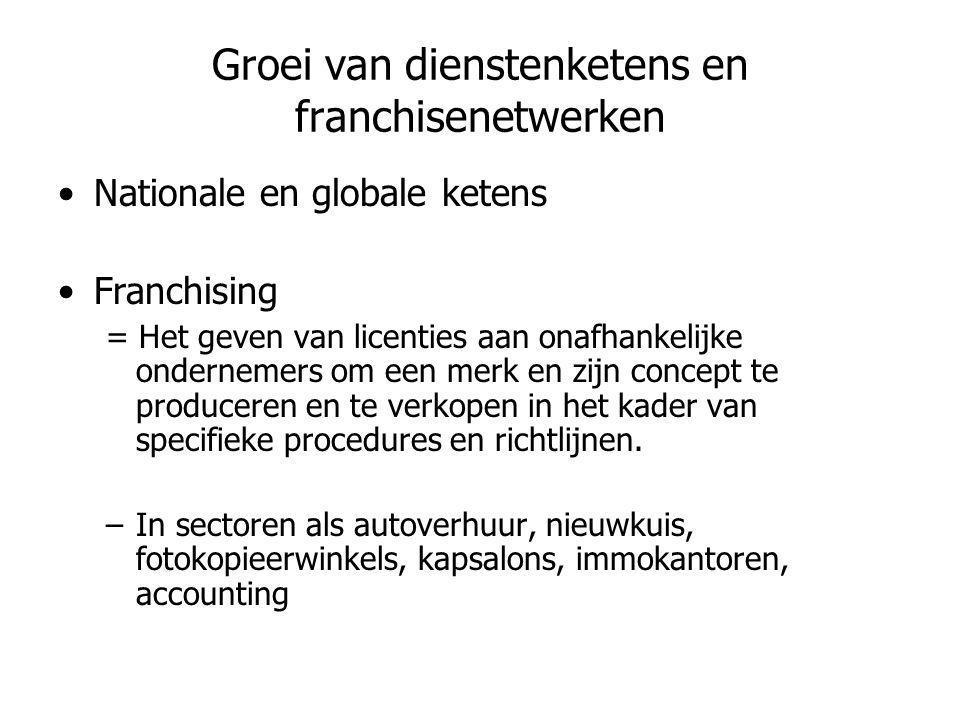 Groei van dienstenketens en franchisenetwerken •Nationale en globale ketens •Franchising = Het geven van licenties aan onafhankelijke ondernemers om e