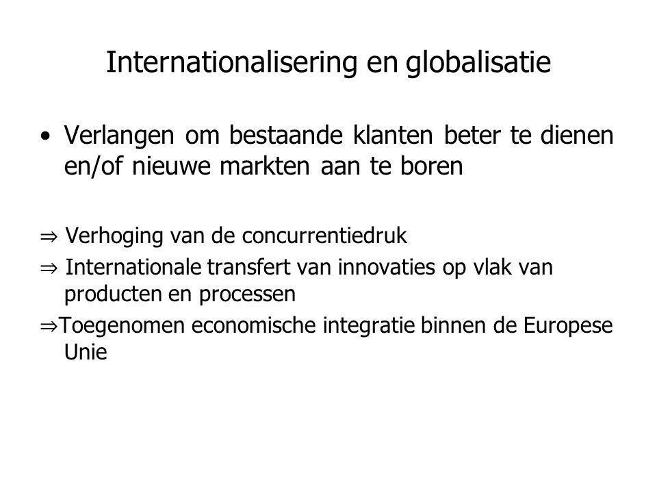 Internationalisering en globalisatie •Verlangen om bestaande klanten beter te dienen en/of nieuwe markten aan te boren ⇒ Verhoging van de concurrentie