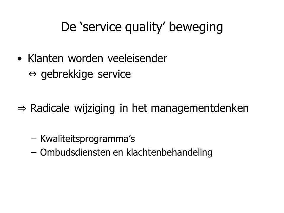 De 'service quality' beweging •Klanten worden veeleisender  gebrekkige service ⇒ Radicale wijziging in het managementdenken –Kwaliteitsprogramma's –O